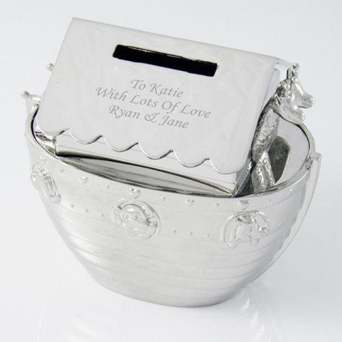 Personalized Elegant Engraved Noahs Ark Money Bank Block- FREE Engraved message. Perfect gift for Christenings, Baptisms, Newborns, Birthdays and Naming days by Gift (Personalized Noahs Ark)