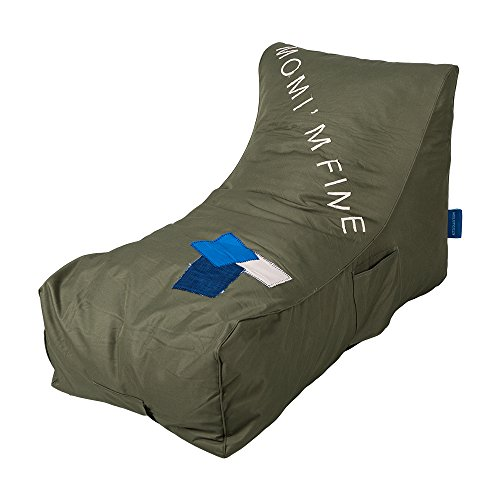 Lucky Tree Lazy Lounger Chairs Sofa Beanbag Chair Sponge Lounge - With Side Pocket - Comfortable & Special, Army Green by Lucky Tree