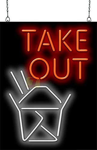 (Take Out with Box Graphic Neon Sign)