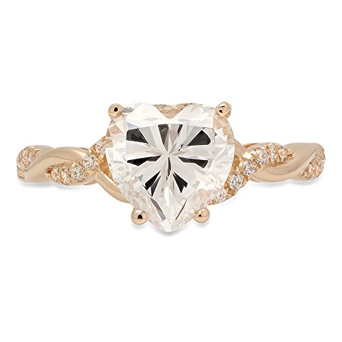 (Clara Pucci 2.29 CT Heart Brilliant Cut CZ Designer Criss Cross Twisted Ring Band 14k Yellow Gold)