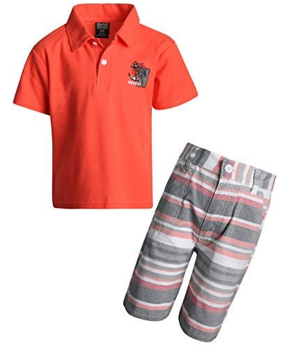 - Quad Seven Boys 2 Piece Short Sleeve Polo Top and Woven Short Set, Orange Anchor, Size 2T'