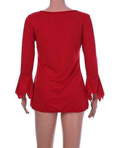 Unie Casual Manches Elgante V Couleur Chemise Minetom Tunique Tops Volants Femme 4 Dentelle 3 t Col Shirts Avec Rouge Pliss Blouse gw1xO