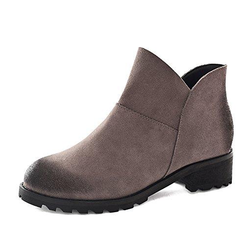 FUFU 1.79 in (5cm) Damen Stiefel Nubuk Herbst / Winter Stiefel Outdoor / Casual klobige Ferse schwarz, grau zu Fuß flache Ferse Grau