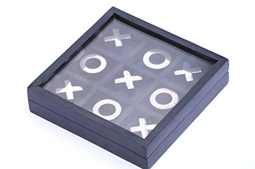 Tic Tac Toe BLACK COLOR - ROSE Family Board Game - Storage Travel Box Set with Glass Lid - Handmade Unique Centrepiece Table / Desk / Floor / Indoor / Outdoor Game - Gift for Kids ( 5X5 INCH) (Hug And Kisses Tic Tac Toe)
