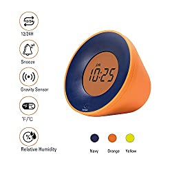 Stylepie Fun Fun Clock—Digital Smart Alarm Clock with Temperature(℃/℉) and Humidity(%) Detections, Gravity Clock with Snooze Function and 12/24H Display, Energy-Saving Light, Bedroom&Office, Orange