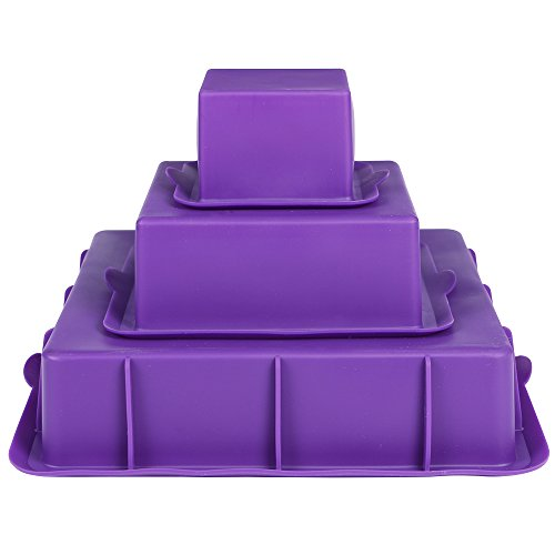 (Webake Square Cake Pan Set Silicone Cake Mold Baking Pans for 3 Tier Cake Layer Tin, 9 Inch, 6 Inch, 3 Inch for Birthday Wedding Anniversary )
