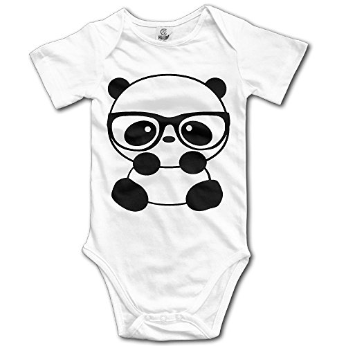 Unisex Baby Panda Nerd With Glasses Short Sleeve Romper Bodysuit Jumpsuit Baby Clothes Outfits 6 M