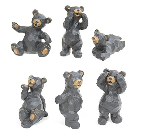 Set of 6 Black Bear Poses Resin Crafted Tabletop - Figurine Black Set