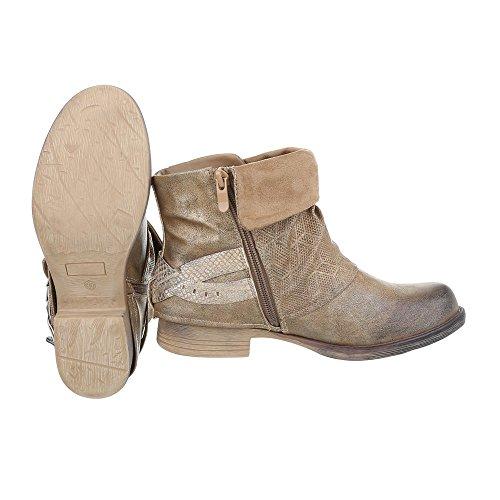 Ital-Design - botas estilo motero Mujer Beige Gold JA3095-2