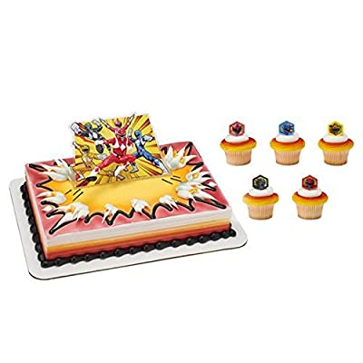 Power Rangers Its Morphin Time Cake Topper and 24 Cupcake Topper Rings: Toys & Games