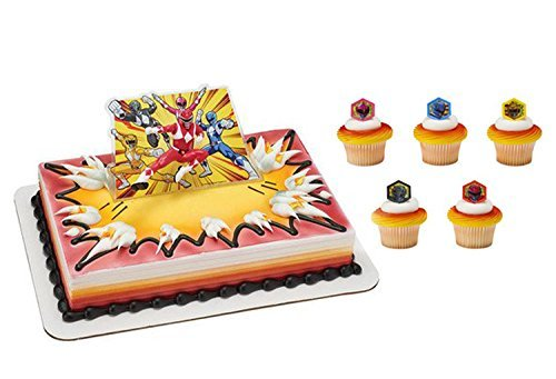 Power Rangers Its Morphin Time Cake Topper and 24 Cupcake Topper Rings -