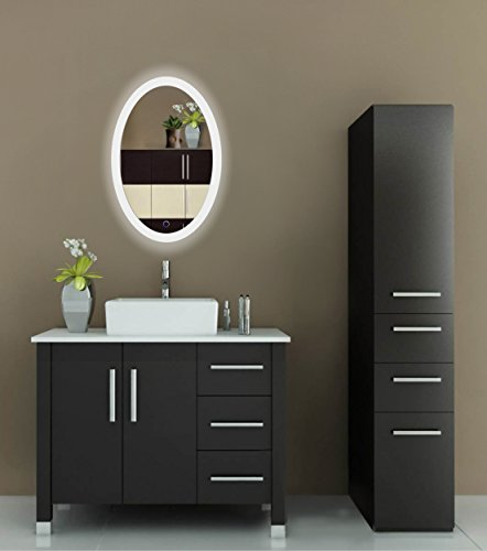 oval led bathroom mirror 20 inch x 30 inch lighted vanity mirror includes dimmer defogger. Black Bedroom Furniture Sets. Home Design Ideas