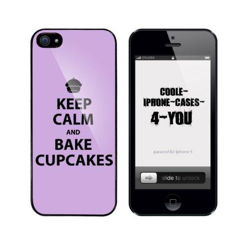 Iphone 5 / 5S Schutzhülle Keep Calm and bake Cupcakes - schwarzer Rahmen