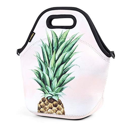 Neoprene Lunch Bag, Green pineapple lunch bags for Women Kids Girls Men Teen Boys, Insulated Waterproof Lunch Tote Box for Work School Travel and Picnic