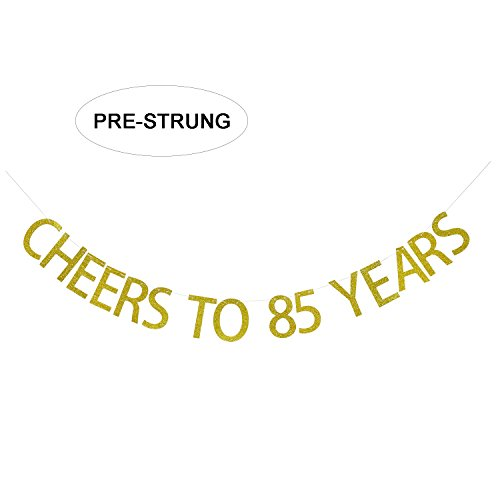 Gold Glitter Cheers to 85 Years Banner - 85th Birthday Party Decorations Celebration Ideas - NO ASSEMBLY REQUIRED -