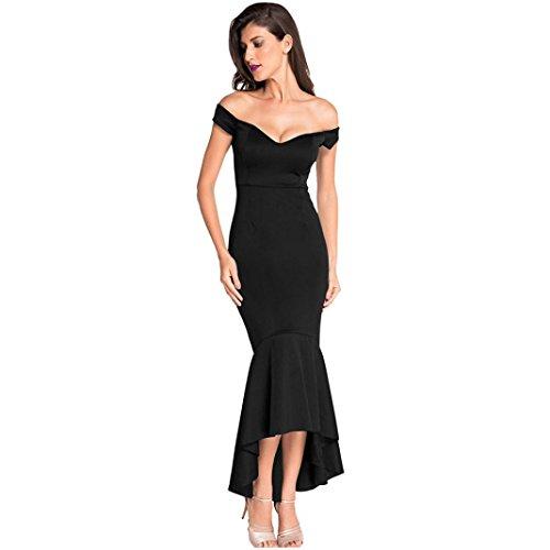 YANG-YI Summer Dress, Clearance Hot Women Formal Wedding Evening Party Off Shoulder Mermaid Long Gown Dress (Black, Asian S) by YANG-YI
