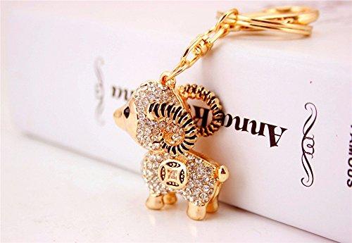 (JewelBeauty Lamb Sheep Fortune Coin Goat Charm Pendant Crystals Rhinestones Purse Car Bag Keyring Key Chain (Silver))