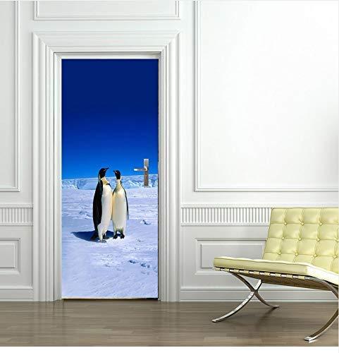 LJLQ 3D Door Sticker North Pole Penguins Removable