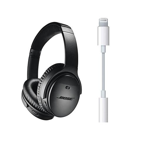 Bose QuietComfort 35 Wireless Headphones II with Microphone, Noise Cancelling, Black - With Apple Lightning to 3.5mm Headphone Jack Adapter by Bose