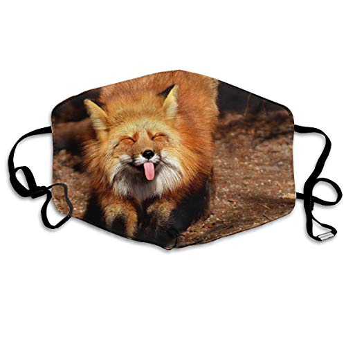 OHMYCOLOR Fox Funny Tongue Face Mouth Mask Unisex Fashion Breathable Anti-Dust Polyester Healthy Masks -