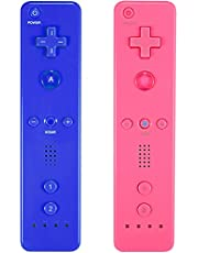 Burcica Remote Controller for Wii Console - No Motion Plus (2 Packs, Pink and Deep Blue)
