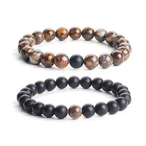 iSTONE Distance Bracelets Brown Opal & Black Matte Agate Energy Healing Stone Beads Bracelet Set Couple Jewelry (Opal Bead Sets)