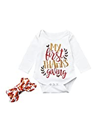 LNGRY Newborn Baby Boy Girl Happy Thanksgiving Letter Print Romper Tops Outfits