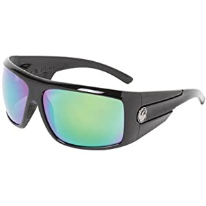 Dragon Sunglasses Shield Large Fit Eyewear - Dragon Alliance Men's Race Wear Shades - Jet Black/Green Ionized