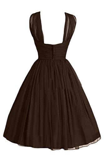 Linie Liebling Abendkleid Ivydressing Einfach Cocktailkleid Festkleid A Schokolade Damen Chiffon Kurz q6xtB5