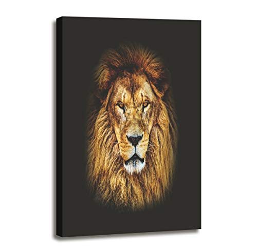 (DZL Art D72134 Canvas Wall Art Mighty Lion Animal Painting Prints on Canvas Framed Ready to Hang for Home Wall Decor)