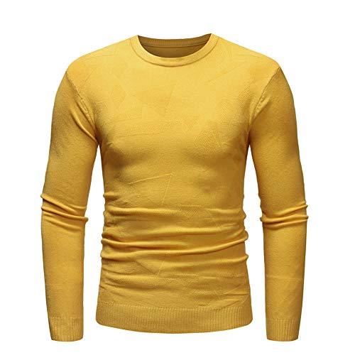 iYBUIA Men's Autumn Winter Pure Sweater Pullover Slim Jumper Knitwear Outwear Blouse(Yellow,L)