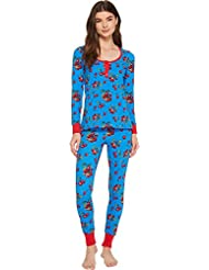 BedHead Womens Long Sleeve Henley Two-Piece Pajama Set