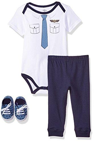Pilot Piece 12 - Little Treasure Unisex Baby Bodysuit, Pant and Shoes, Pilot, 3-Piece Set, 12-18 Months (18M)