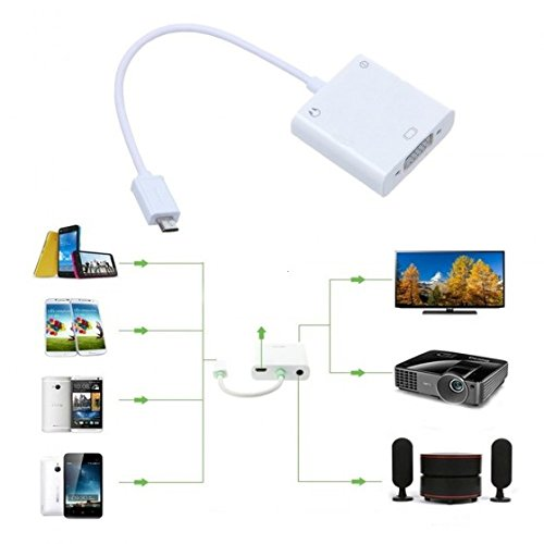 Kingzer Micro USB MHL to VGA and 3.5mm Audio Adapter + Micro 5pin Adapter for Samsung Galaxy Note 2 3/S3 S4