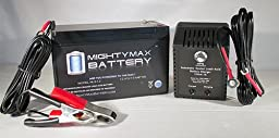 12V 9AH Replaces GS Portalac TPH12080 + 12V 1Amp Charger - Mighty Max Battery brand product