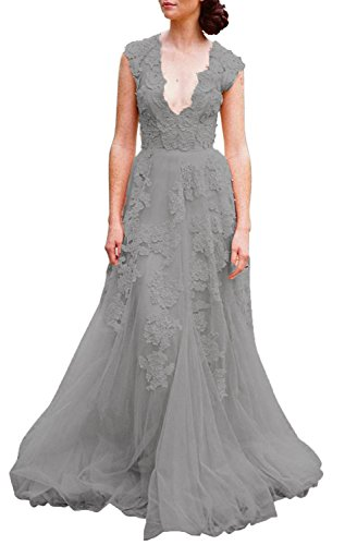 - ASA Bridal Women's Vintage Cap Sleeve Lace Wedding Dress A Line Evening Gown Dark Grey 10