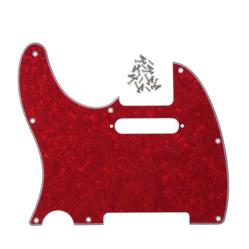FidgetGear New 4Ply Red Pearl Left Hand Guitar Pickguard with Screws for Fender Tele Guitar