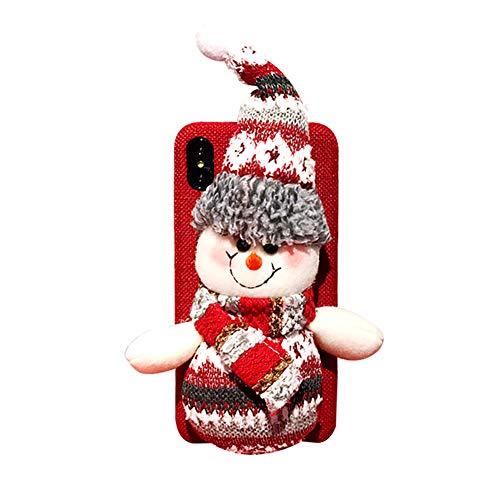 Creaon Christmas Mobile Phone Case Creative Plush Santa Snowman Doll Linen Flannel Christmas Doll Mobile Phone Covers Phone Shell