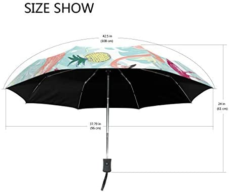 Akiraki 折りたたみ傘 レディース 軽量 ワンタッチ 自動開閉 メンズ 日傘 UVカット 遮光 フラミンゴ パイナップル グリーン 緑 かわいい 可愛い 折り畳み傘 晴雨兼用 断熱 耐強風 雨傘 傘 撥水加工 紫外線対策 収納ポーチ付き