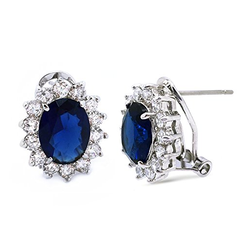 Blue CZ Crown Stud Earrings Rhodium Plated Women Fashion Omega (French Back Earrings)