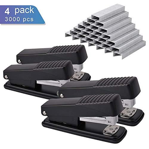 Ktrio Stapler,Office Staplers with 3000 Staples 20 Sheet Capacity Half Strip Ergonomic Metal Stapler for Swingline Staples Bostitch Staples Praxxis Pro Staples Black 4 Pack