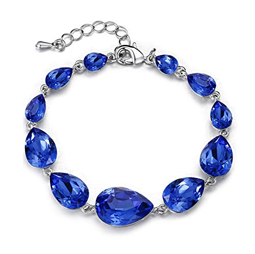 - BriLove Wedding Bridal Crystal Bracelet for Women Multi Teardrop Bracelet Royal Blue Sapphire Color Silver-Tone