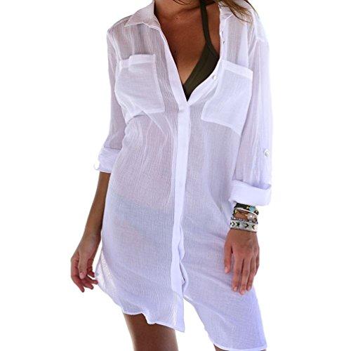(Bestyou Women's Chiffon Swimsuit Cover up Swimwear Sheer Kimono Cardigan (White C))