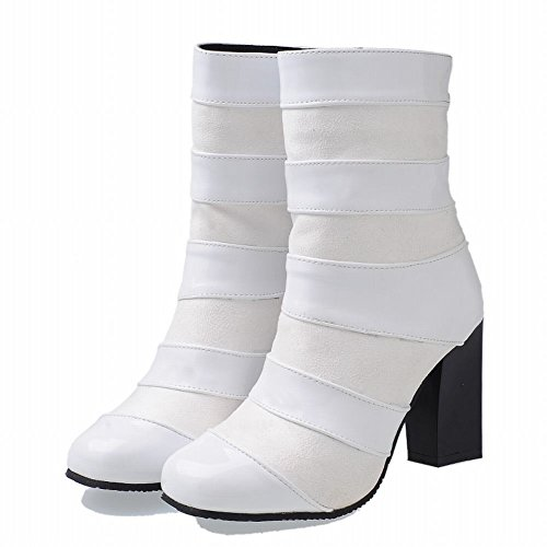 Carolbar Womens Zip Mode Fyrkantig Tå Höst Hög Klack Stövlar Vit