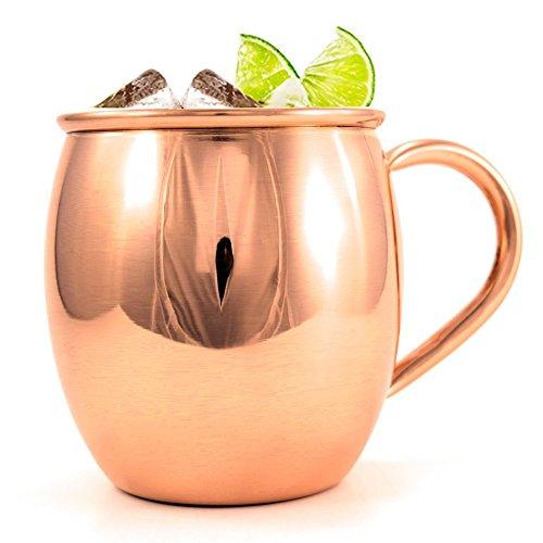 Artisan's Anvil Premium Copper Smooth Barrel Mug – Heavy Gauge Moscow Mule Mug - 16 oz - 100% Pure Handcrafted Copper - No Lining - Includes FREE Recipes & Care E-book ()
