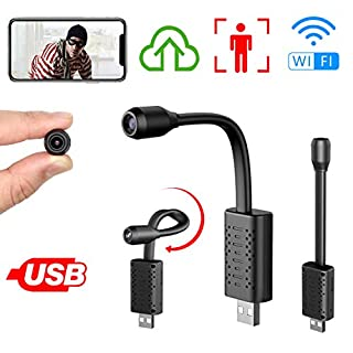 Smallest Spy Camera Wireless Hidden WiFi,Rettru Portable USB IP HD Nanny Camera with AI Human Motion Detection,Cloud Storage,Live Feed Streaming,Remote Viewing for Security on iOS,Android Phone APP