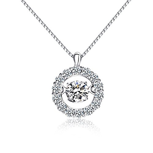 Han han 925 Sterling Silver Dancing Cubic Zirconia Pendant Necklace 18 Perfect Gift for Christmas Day,Valentine s Day,Birthday,Anniversaries