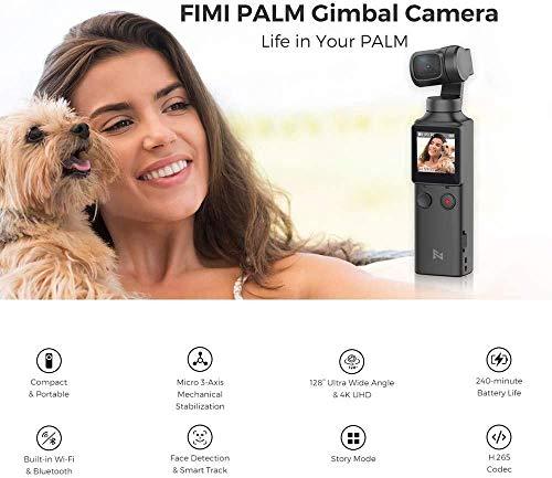 FIMI Palm Stabilizzatore cardanico a 3 assi tascabile con fotocamera intelligente 4K, obiettivo ultra grandangolare 128 °, 120g, microfono incorporato e microfono esterno supportati 2 spesavip