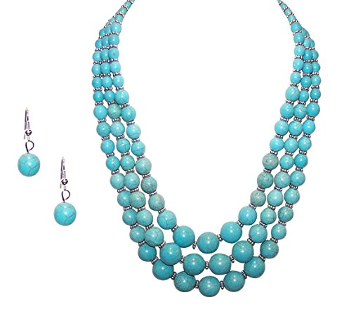 3 Strand Multilayered Simulated Turquoise Bead Necklace EarringJewelry (Blue Bead Necklace Set)