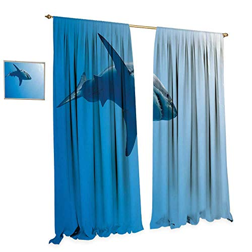 Blue Goblet Water Light (cobeDecor Shark Room Darkening Wide Curtains Fish Swimming in The Ocean Underwater Beauty Tropical Island Water Nature Landscape Customized Curtains W120 x L96 Light Blue)